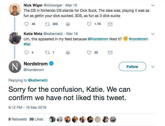 Nordstrom denies liking 'Dick' DS tweet