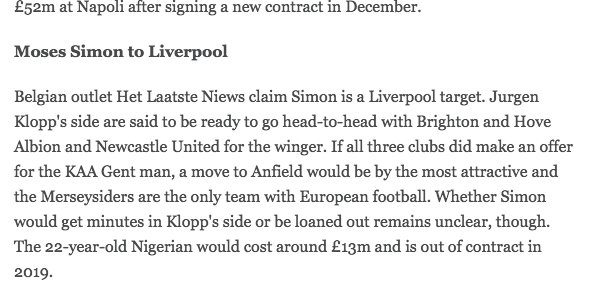 Moses SImon transfer liverpool