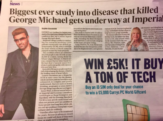 george michael evening standard