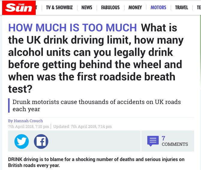 the sun drink driving