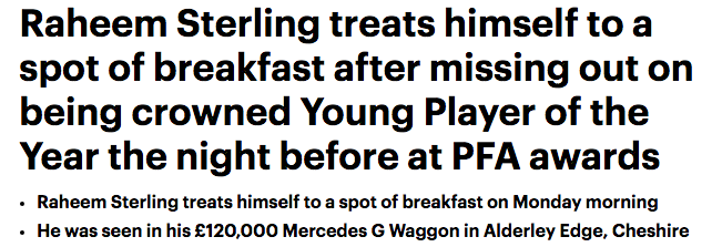 raheem sterling PFA daily mail