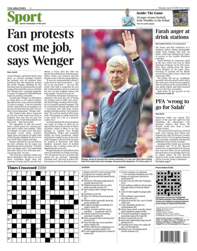 wenger out stupid headlines