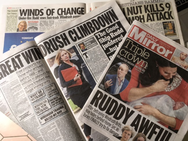 Windrush Rudd newspapers