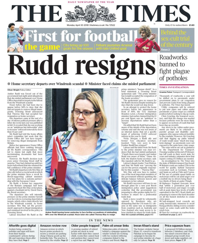 amber rudd newspapers windrush resigns