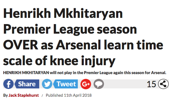 Henrikh Mkhitaryan injury