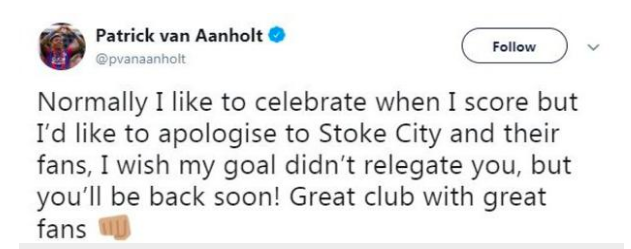 stoke city aarnholt tweet