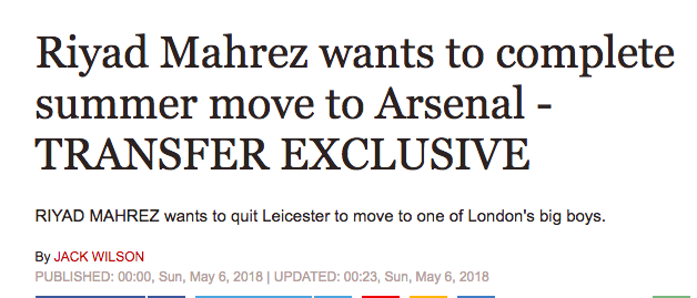 mahrez leicester arsenal transfer