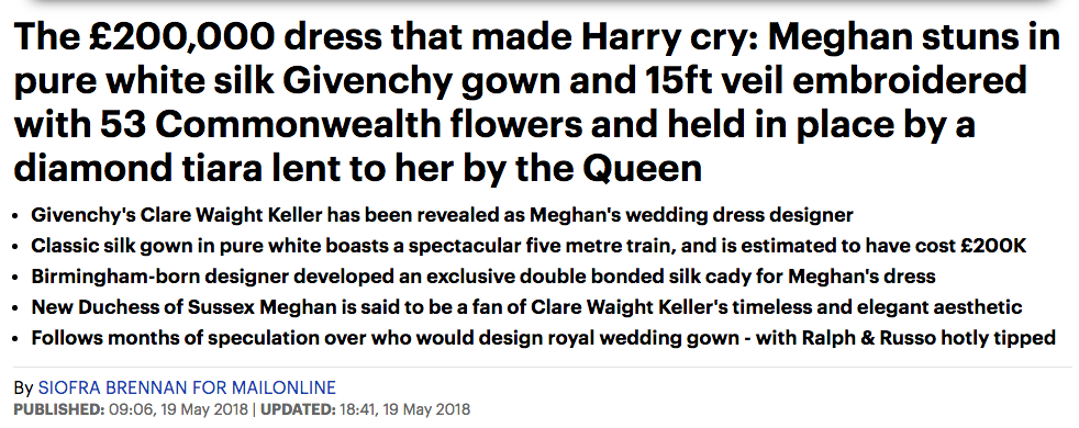 meghan dress daily mail