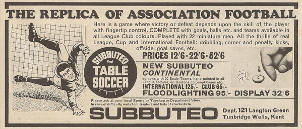 The very first #Subbuteo advert ever seen in #Shoot! 1969-08-16
