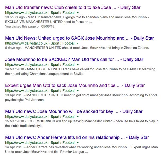 sack mourinho