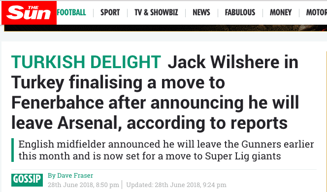 jack wilshere Fenerbahce west ham