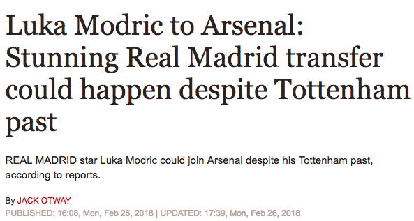 daily express modric arsenal