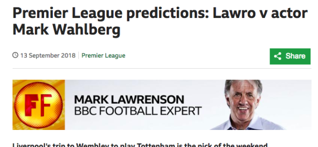 mark lawrenson bbc pundit prediction premier league