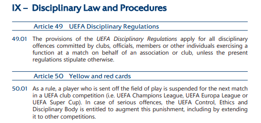 Uefa rules red card ronaldo manchester united