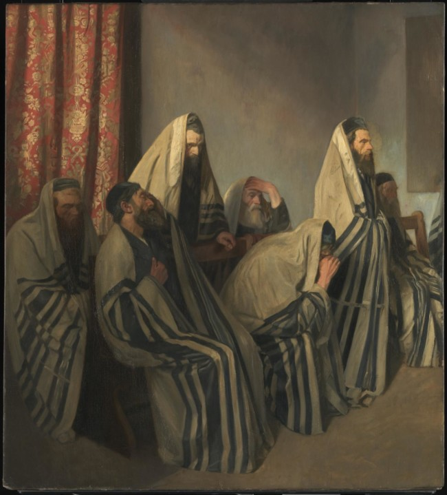 Jews Mourning in a Synagogue 1906 Sir William Rothenstein 1872-1945 Presented by Jacob Moser J.P. through the Trustees and Committee of the Whitechapel Art Gallery in commemoration of the 1906 Jewish Exhibition 1907