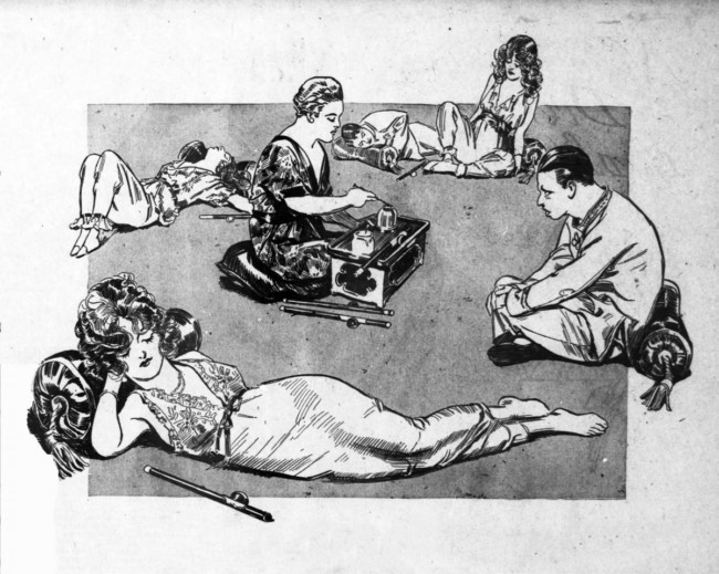 A contemporary illustration of the 'sordid' opium party at Dover Street in September 1918.
