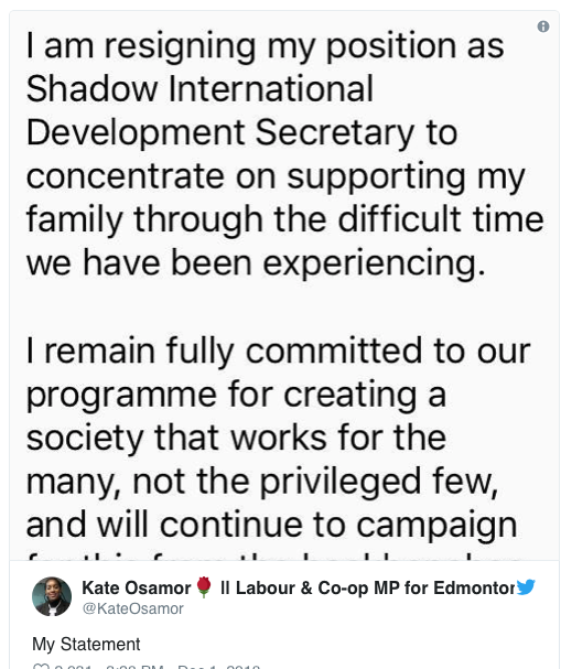 kate osamor resigns
