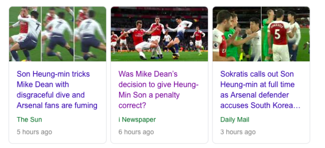 son dive spurs arsenal