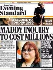 London Evening Standard newspaper front page Madeleine McCann: Who Pays The Met?