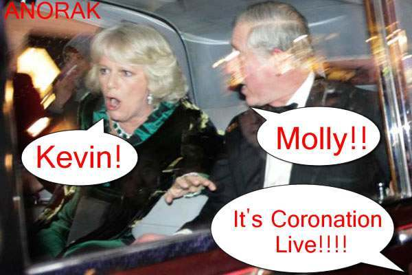 camilla fees1 Coronation Street Live Activists Try To Free Camilla And Charles From Night At Royal Variety Show: Photos
