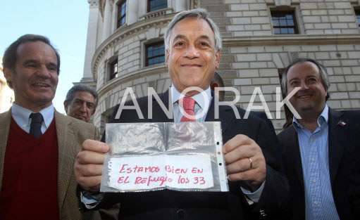 chile note President Sebastian Pinera Shows Off Miners Call For Help