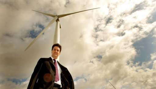 Ed Miliband the Secretary of State for Energy at the Little Cheyne Court wind Farm, which he officially opened on the Romney Marshes in Kent, this morning.