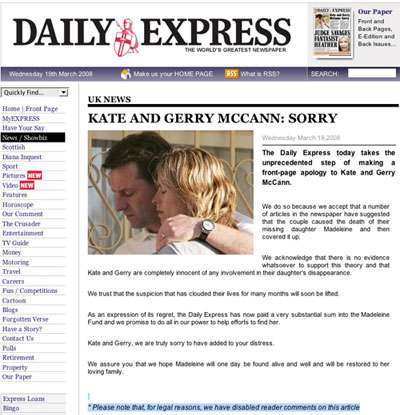 express apology Madeleine McCann: Correcting A Correction 