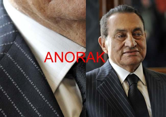 hosni mubarak suit Hosni Mubaraks Pin Striped Suits Spell His Name In The Thread
