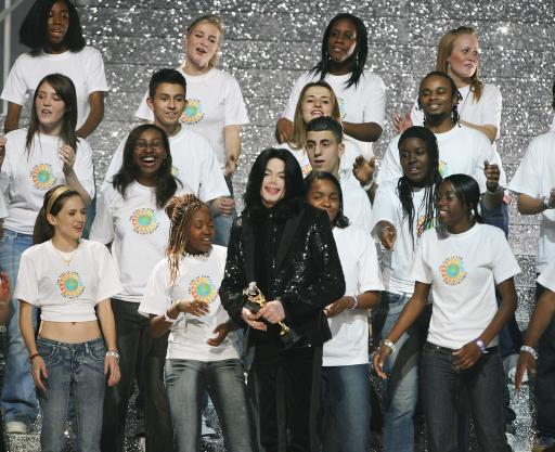 Michael Jackson performs 'We Are The World', on stage during the World Music Awards at Earls Court in central London, November, 15, 2006.