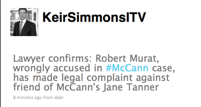 murat Madeleine McCann: Robert Murat Sues Jane Tanner (?) And McCanns Sue TV1