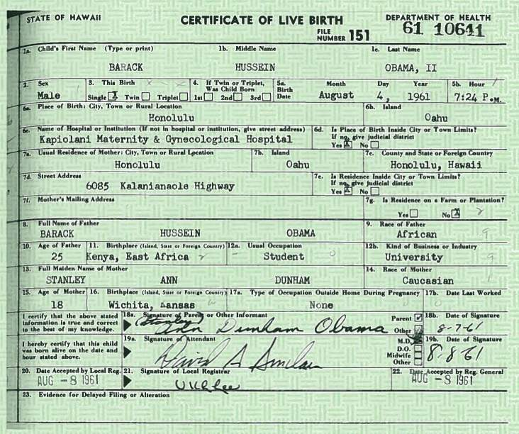 Anorak Obama S Long Birth Certificate Endorsed By