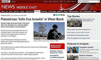 palestinians kill1 Biased BBC Ignores Palestinian Who Slit A Jewish Babys Throat In Itamar