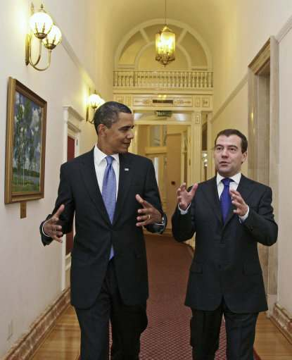 President Barack Obama tours the Kremlin, accompanied by President of Russia Dmitry Medvedev in Moscow