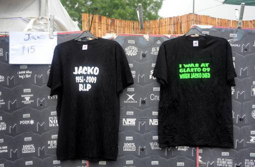T-shirts relating to the death of singer Michael Jackson are seen on sale during the 2009 Glastonbury Festival in Pilton