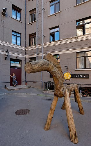 Riding the Wooden Pony http://www.anorak.co.uk/266867/strange-but-true/four-naked-britons-ride-a-wooden-horse-in-riga-no-snood.html/