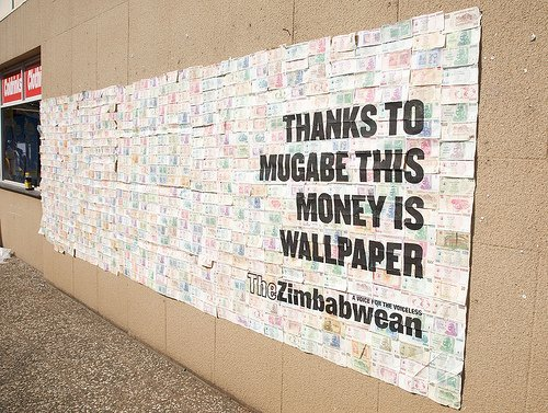 zimbabwe-money-poster-wall Zimbabwe Campaign Posters Printed On Bank Notes