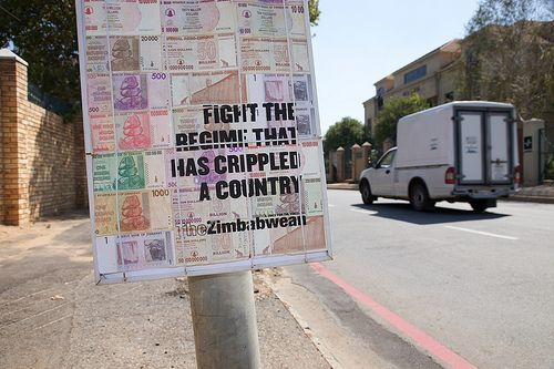 zimbabwe-money-poster Zimbabwe Campaign Posters Printed On Bank Notes