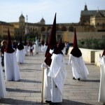 "Penitents Of The ""La Vera Cruz"" Brotherhood Take Part During a Holy Week Procession in Cordoba"