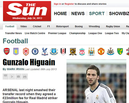 higuain-arsenal the sun transfer