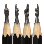 Fantastic carved pencil lead sculptures