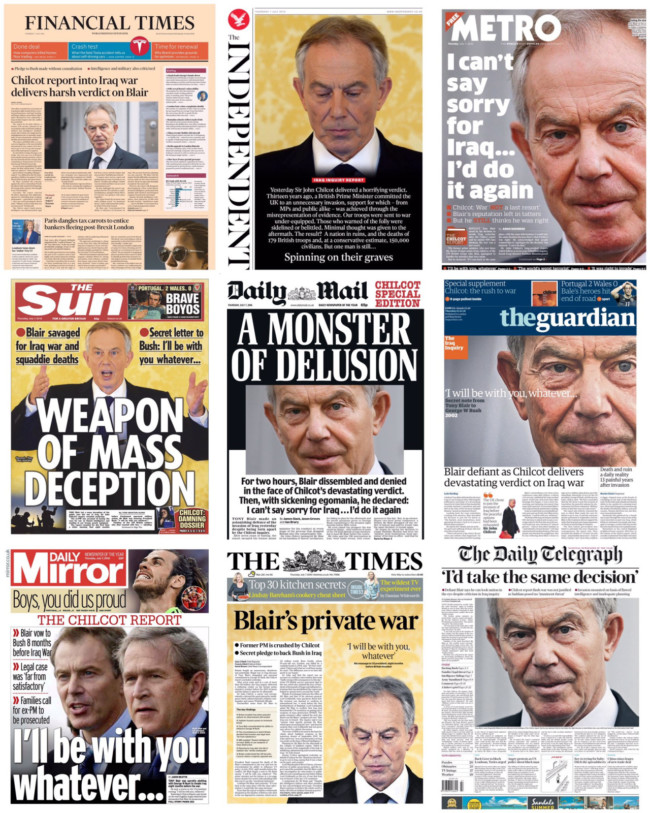blair front pages chilcot