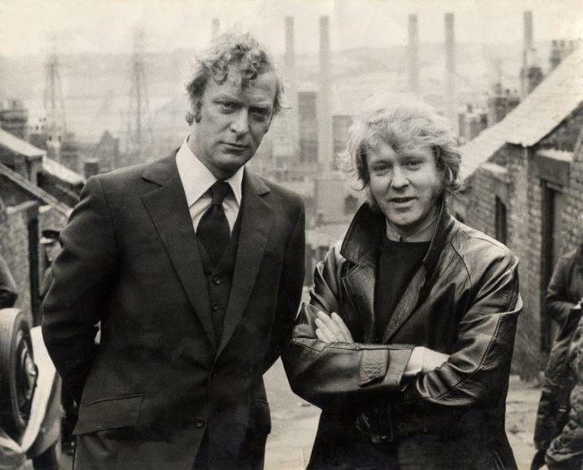 July 1970: Michael Caine & Ted Lewis on Frank Street in Benwell (now demolished) with the Dunston B Power Station in the distance (demolished in 1986).