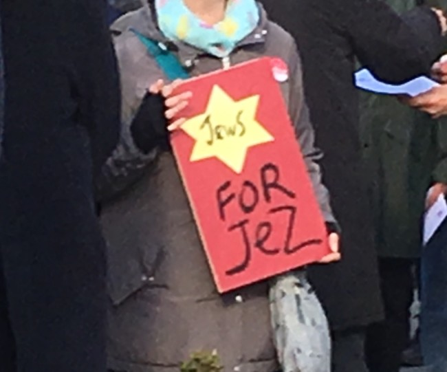"""Jews for Jez"" - with a yellow star, to boot. Some people, eh."