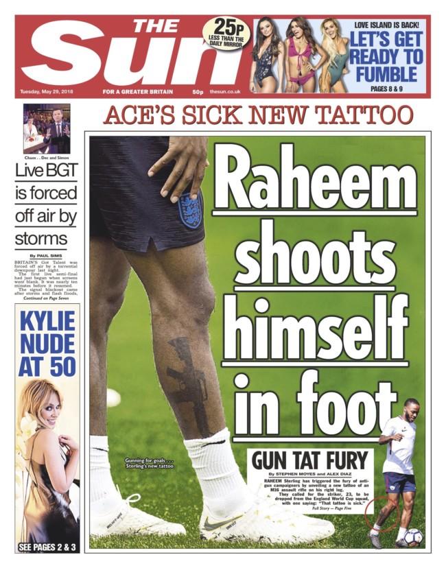 raheem sterling tattoo gun