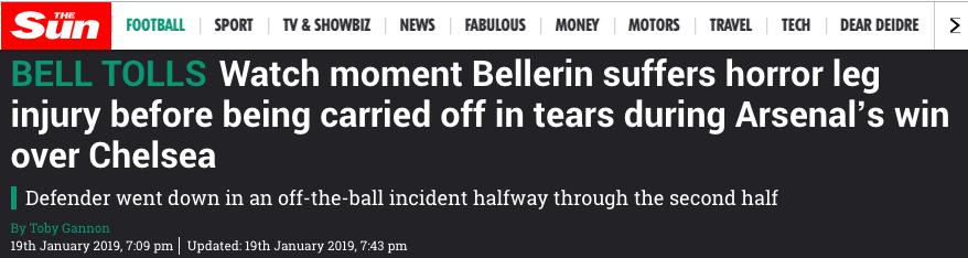 Bellerin knee injury arsenal