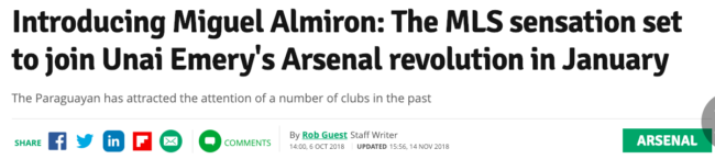 Almiron arsenal mirror