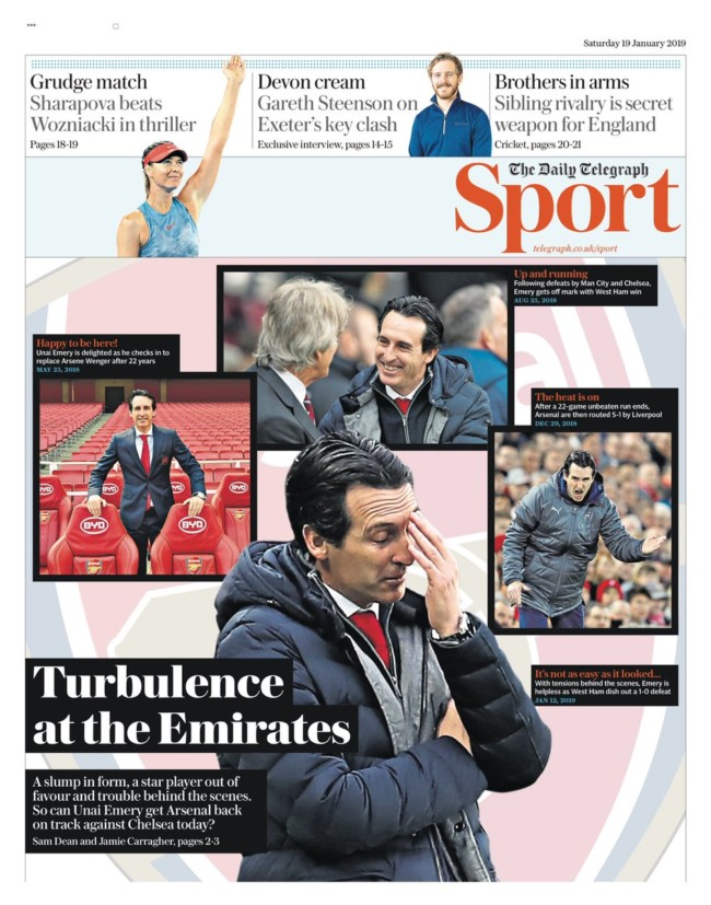 Arsenal Emery newspapers