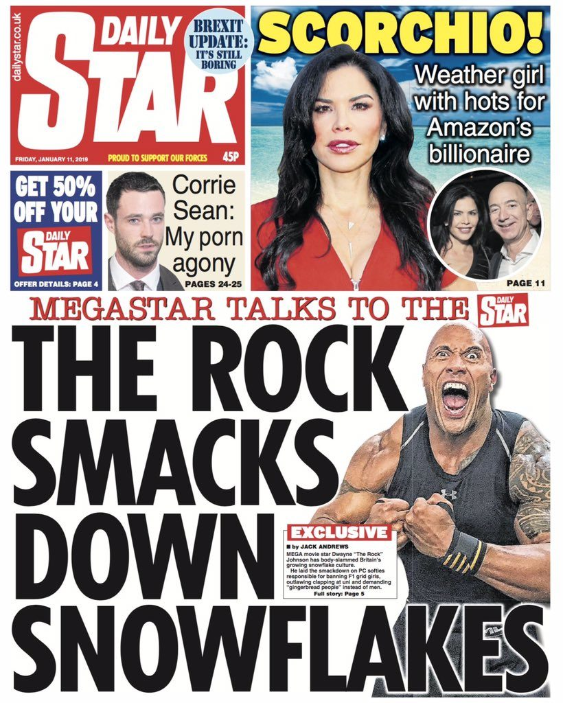The Rock daily star snowflakes