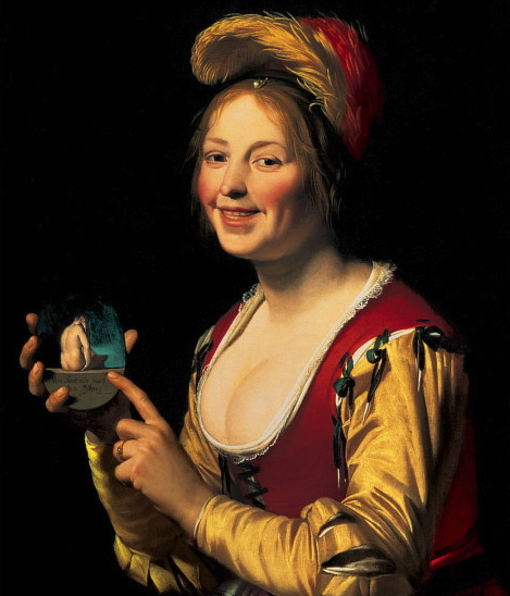 blushing - (Gerard van Honthorst's Smiling Girl, a Courtesan, Holding an Obscene Image, 1625, via Wikimedia Commons)