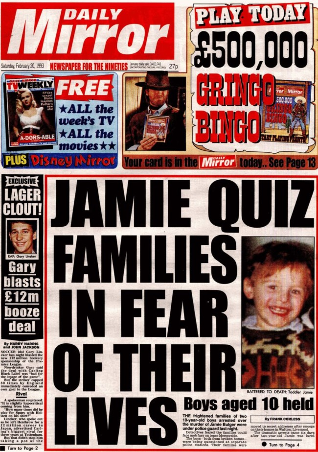 James Bulger newspaper front page